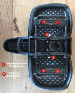 Das Bild zeigt die Unterseite des Vario Comfort Sattels und die Einstellmöglichkeiten in der Breite.